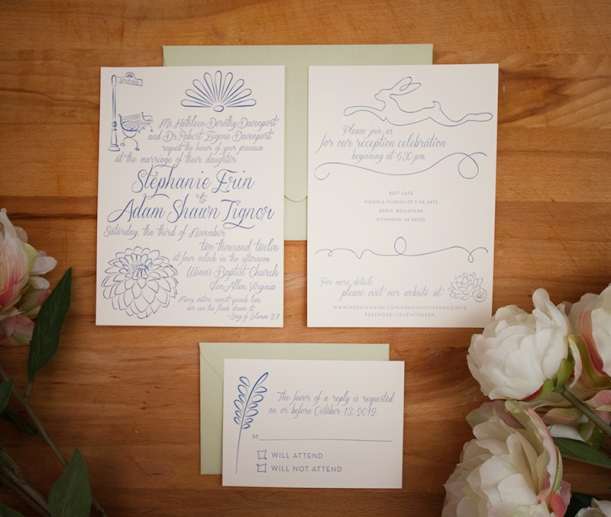 custom script letterpress wedding invitations