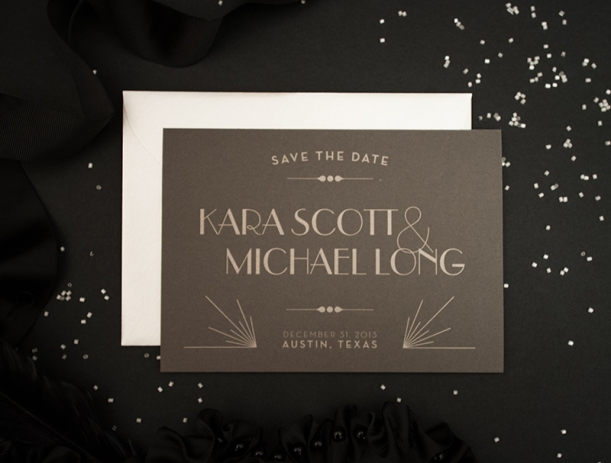 metallic letterpressed art deco save the date