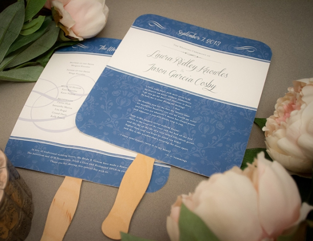 Wedding program fans for a traditional outdoor wedding in Richmond, VA :: Dejlige Creative