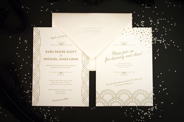metallic letterpressed art deco wedding invitations