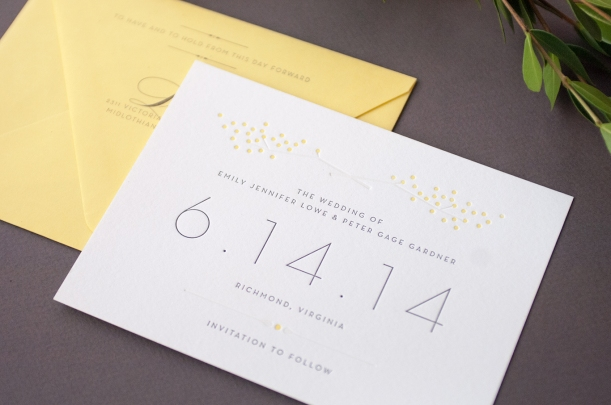 Formal letterpress Save the Date with yellow :: Dejlige Creative – Richmond, Virginia
