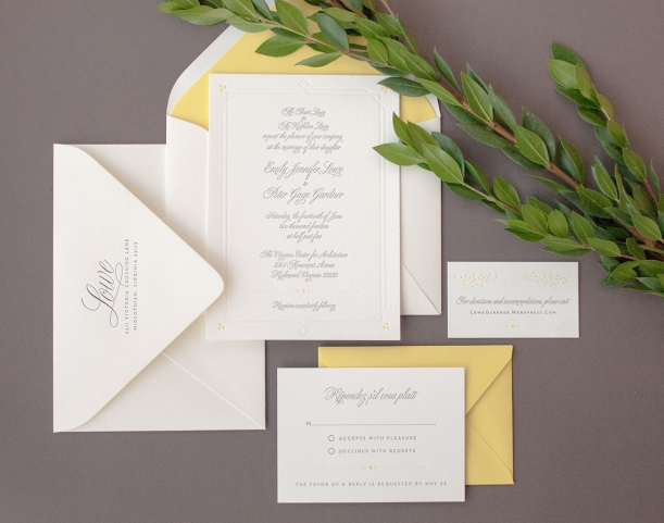 Formal 3-color letterpress wedding invitation suite with yellow :: Dejlige Creative – Richmond, VA
